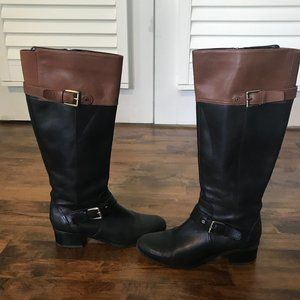 Bandolino black w/brown leather riding boots, 7